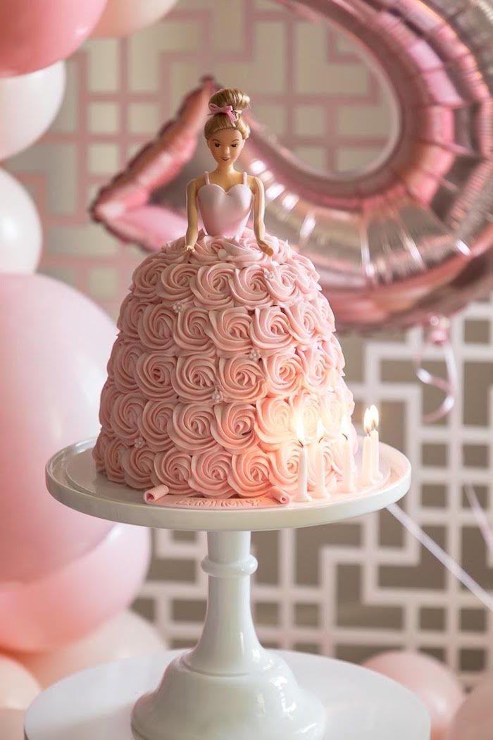 Pink White Ballerina Birthday Party Kara S Party Ideas Ballerina Birthday Party Cake Ballerina Birthday Cake Barbie Birthday Cake