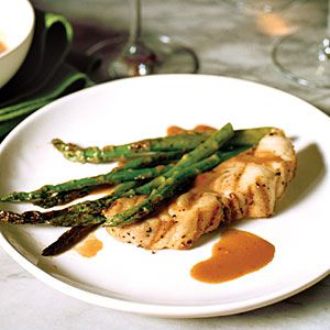 Spicy Soy-Ginger Grilled Striped Bass with Asparagus | MyRecipes.com