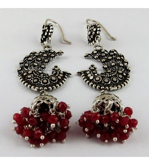 Bring The Heat ! Oxidized Jhumka Ruby 925 Sterling Silver Earring, Weight: 12.3 g, Stone - Ruby, CZ, Size - 7.3 x 2.0 cm, Wholesale Orders Acceptable, All Pieces have 925 Stamp
