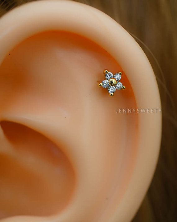 Gold Flower Cartilage Earring