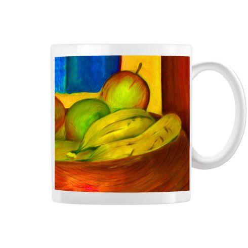 Fruit apples and bananas mug by simon knott fine artist at zippi canvas