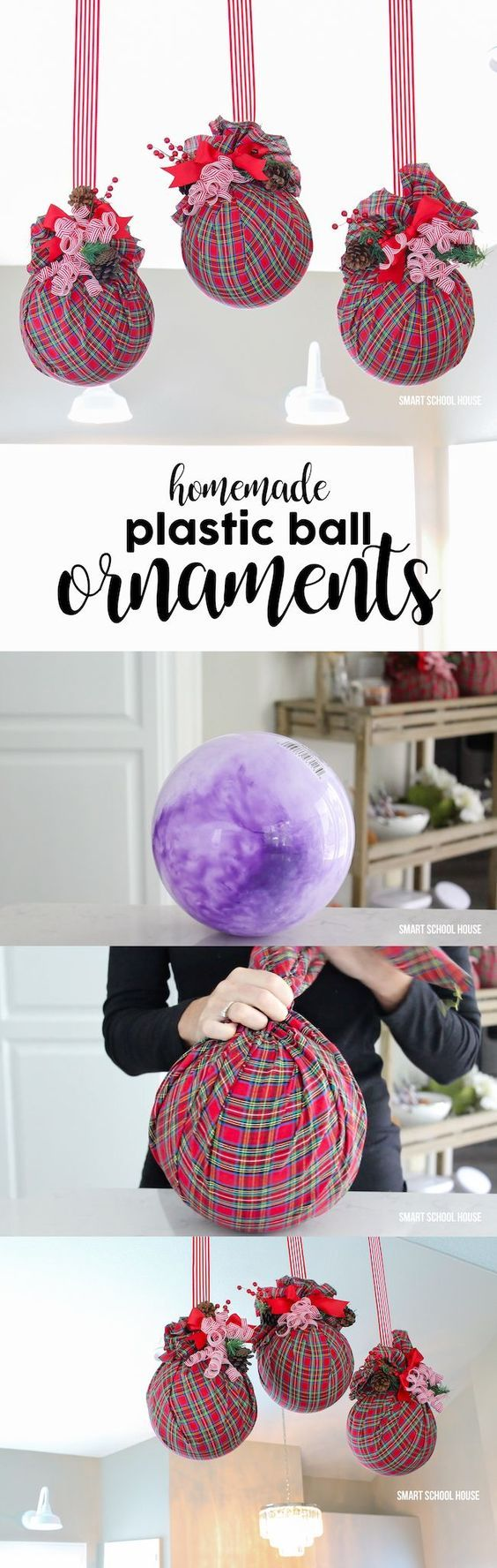 AMAZING and BIG unbreakable plastic ball ornaments for Christmas! Use a plastic ball (the ones found in the toy section for a dollar or so). Put them in your tree, around the house, or hang them with ribbon! Untie, save the supplies, and get a new ball fo