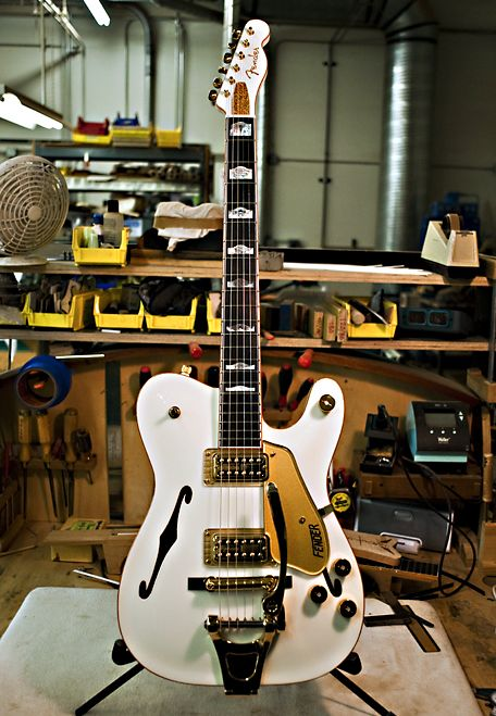 Fender Custom Shop White Falcon Tele... Fender? Gretsch? WHAT'S HAPPENING