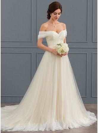 Ballkleid Off-the-Shoulder-Gericht Zug Rüschen schnüren regelmäßige Träger ärmellos …   – Brittany's Wedding