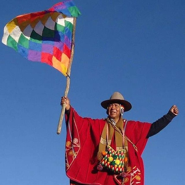 The Wiphala, the rainbow flag which is a symbol of indigenousresistanceof Andeanpeoples in South America, it represents the four regions of the Tawantinsuyu, the ancient Inca empire.