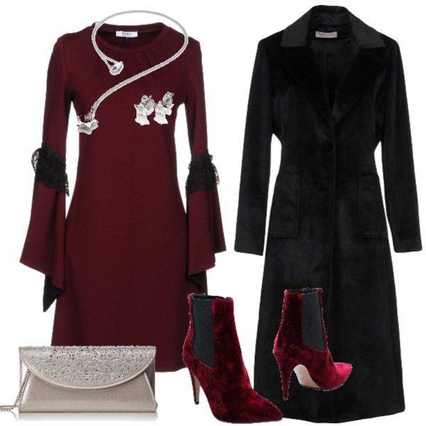 vestito bourdeaux donna piu cappotto