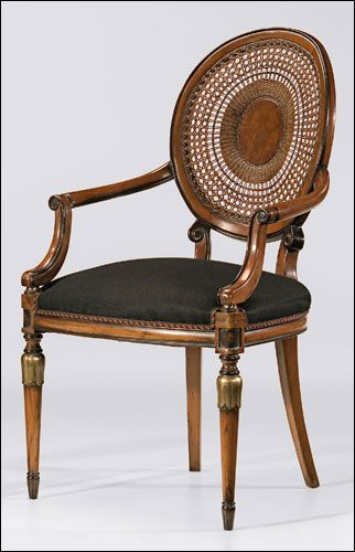 "Decorative Crafts .com | Chair #1987/2 | Louis XVI style beechwood armchair with hand-caned back, hand-rubbed antiqued walnut finish, antiqued silverleaf accents and black muslin upholstery. Made in Italy. 39¾"" h. Seat is 22"" w. x 20½"" d. x 20"" h. Arms are 26½"" h."