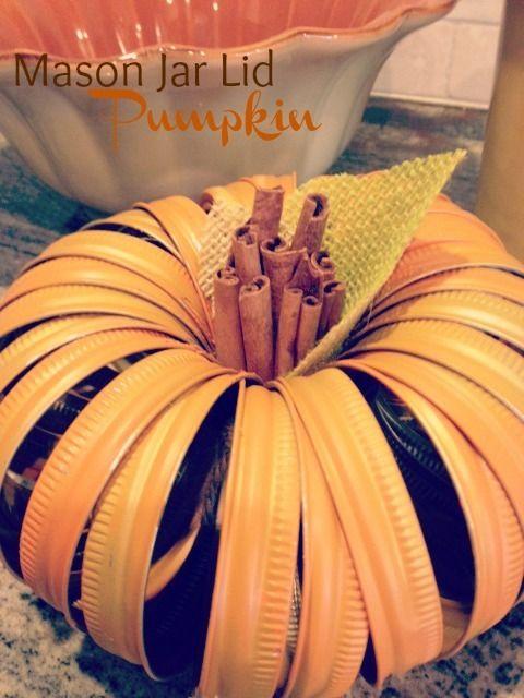 punkins made with jar lids | Mason Jar Lid Pumpkin ~ This mason jar lid pumpkin is absolutely ...