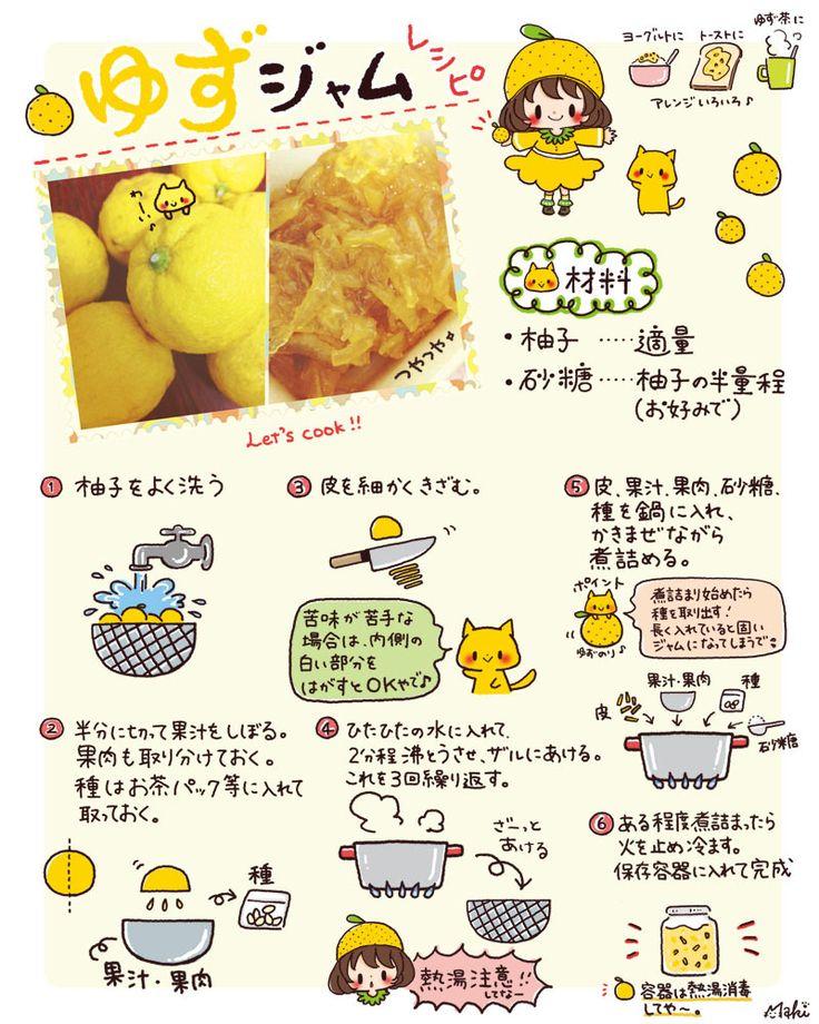 イラストレシピ☆ゆずジャムの作り方|きゃらきゃらマキアート