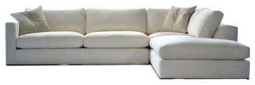 Used White Linen Rocco Sectional transitional-sectional-sofas