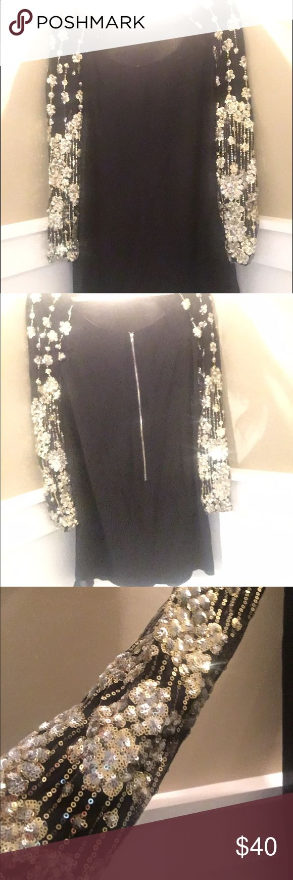 NWOT black long sleeve semi-formal dress NWOT black long sleeve semi-formal dress. Purchased as an option for a holiday party. Never worn. Dresses Long Sleeve
