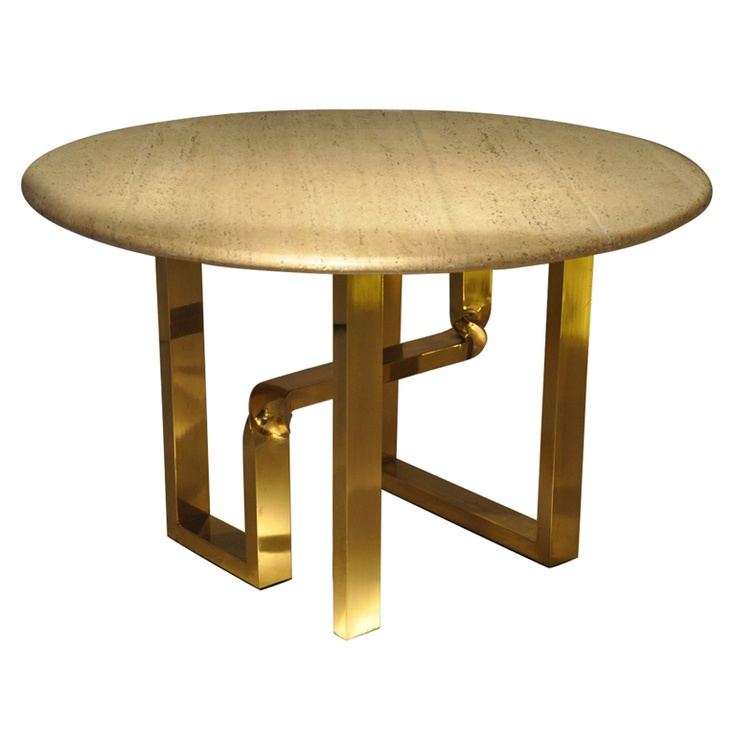 1st dibs 1960s Table Travertine top and brass base