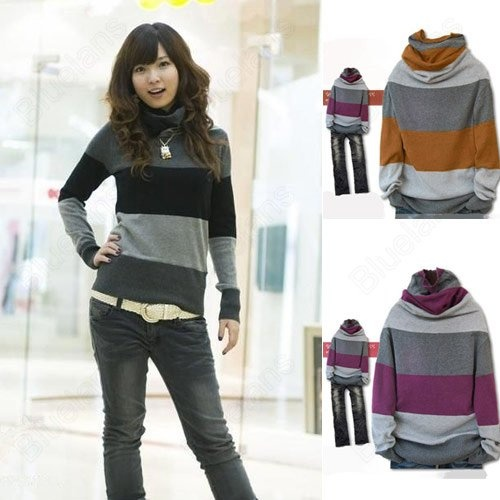 Korean Fashion Womens Striped Stand-up Collar Long Sleeve Loose Sweater10% off $9.89