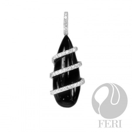 FERI Twirl AAA CZ & Onyx Pendant from GWT Galleries, FERI Designer Lines,