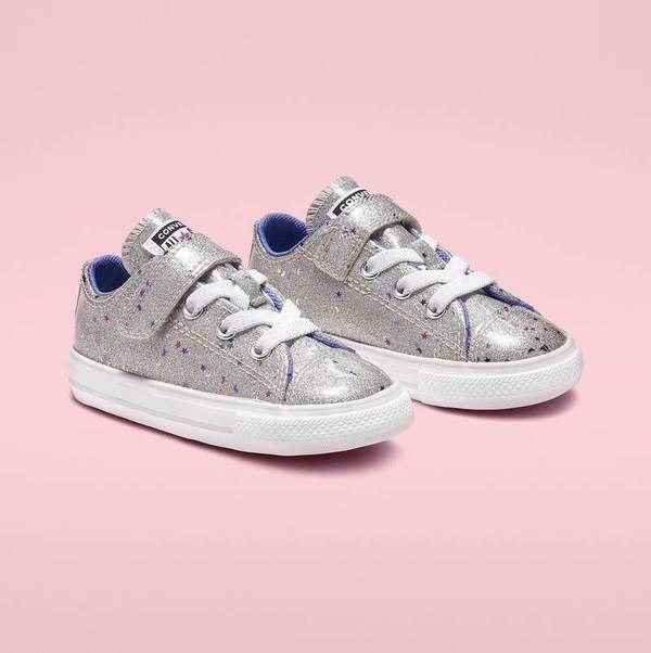 Glitter galaxy silver Converse girls