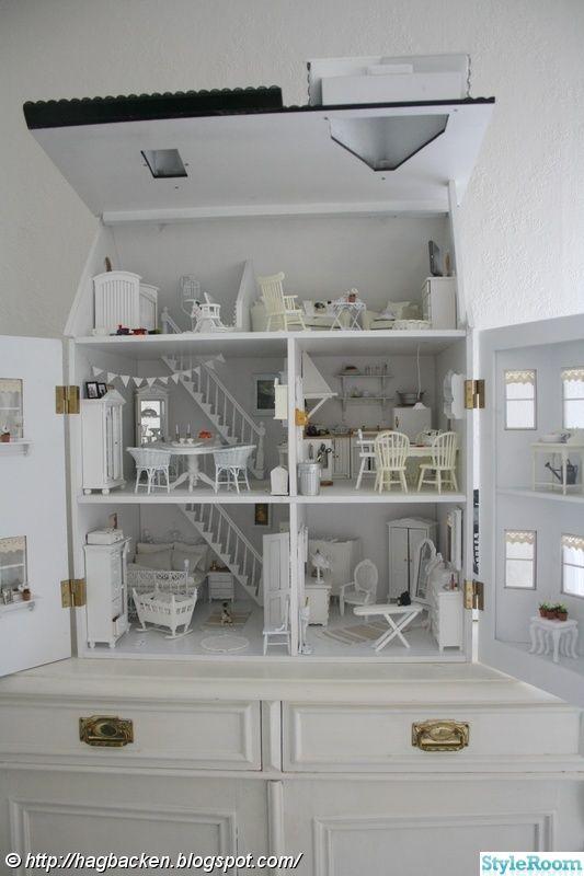 dockskåp,lantligt,vitt,dockskåpsinredning,miniatyrer