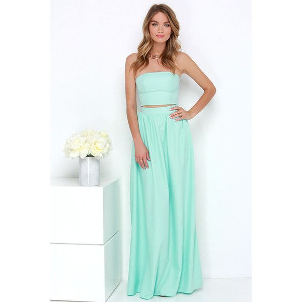 Maxed Out Mint Two-Piece Maxi Dress ($76) ❤ liked on Polyvore featuring dresses, gowns, blue, long dresses, evening maxi dresses, blue gown, long maxi dresses ve blue dress