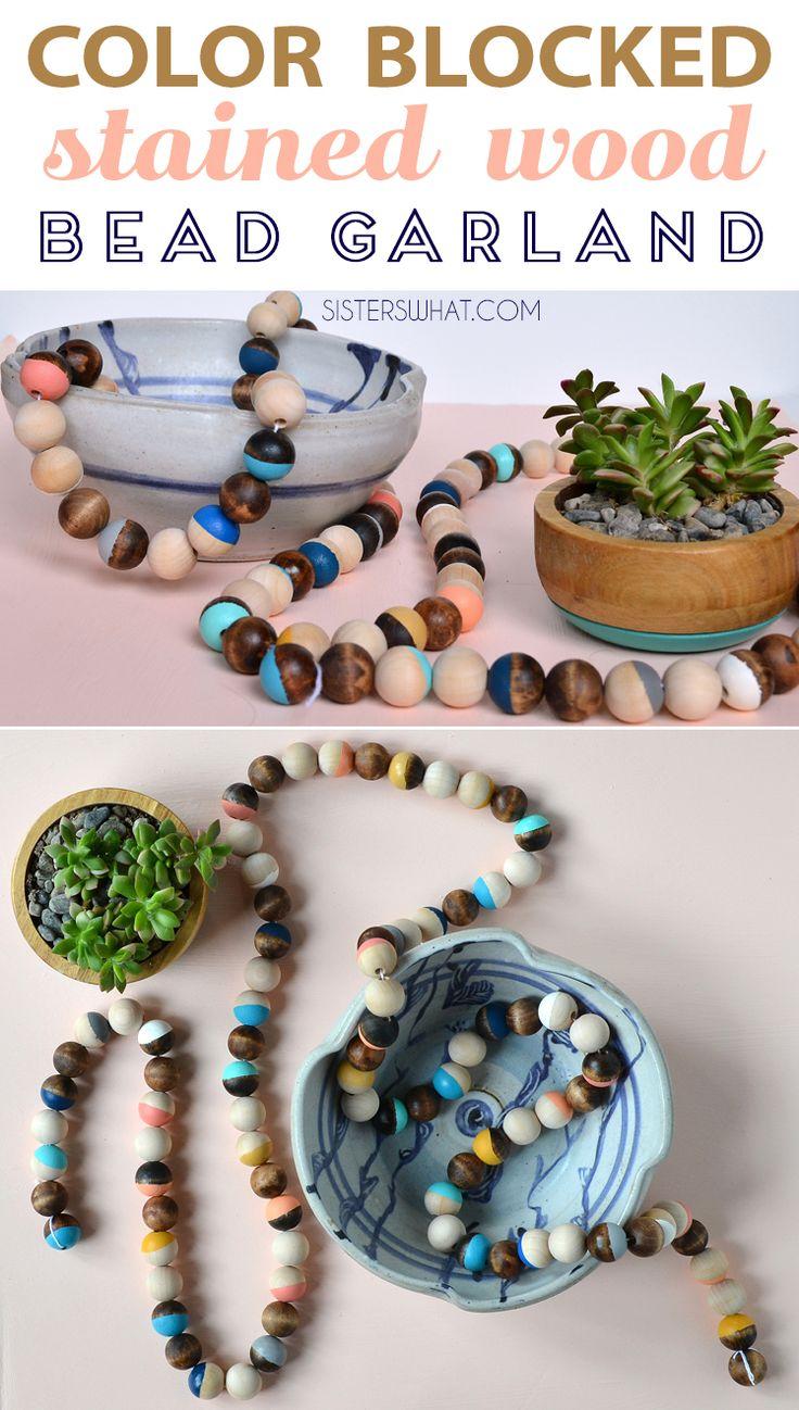 DIY color blocked wood bead garland home decoration