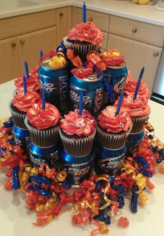 Beer cans and cup cakes.  Hubby doesn't care much for cake, but enjoys Bud Light.