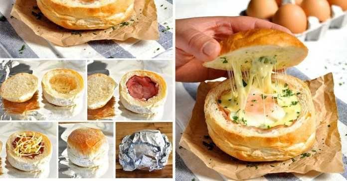Recept na bulky plněné sýrem,vejcem a šunkou