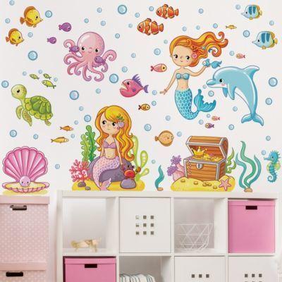 Cool Wandtattoo Kinderzimmer Meerjungfrau Unterwasserwelt Set x Jetzt bestellen unter