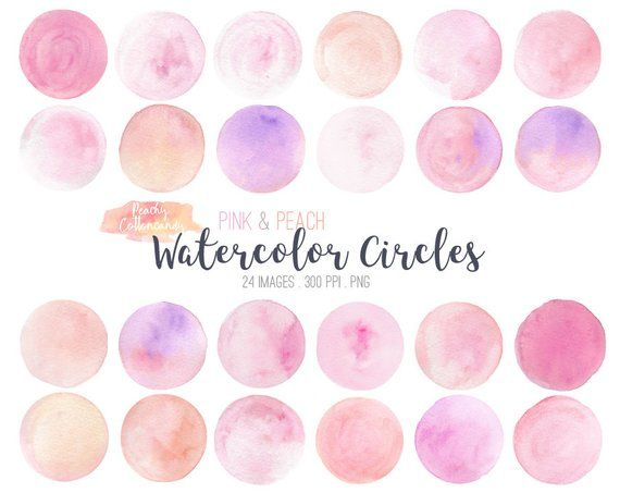 Buy 2 Get 1 Free 24 Pink Peach Watercolor Circles Clip Art