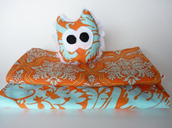 Adorable Burp Cloth and Toy Owl Set on Etsy, $25.00 CAD