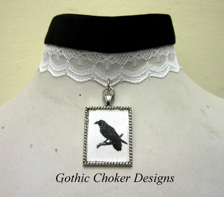 R120 approx $12 Purchase here: https://hellopretty.co.za/gothic-choker-designs/black-and-white-raven-choker