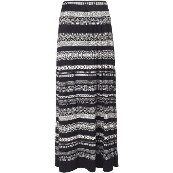 Monsoon Aurelia Aztec Print Maxi Skirt ($68) ❤ liked on Polyvore featuring skirts, bottoms, saias, maxi skirts, black, long boho skirts, floral skirt, black jersey, black maxi skirt and tribal maxi skirt