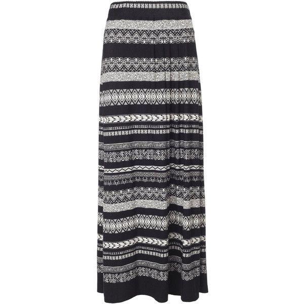 Monsoon Aurelia Aztec Print Maxi Skirt ($68) ❤ liked on Polyvore featuring skirts, bottoms, saias, maxi skirts, black, long boho skirts, floral skirt, black jersey, black maxi skirt and tribal maxi skirt