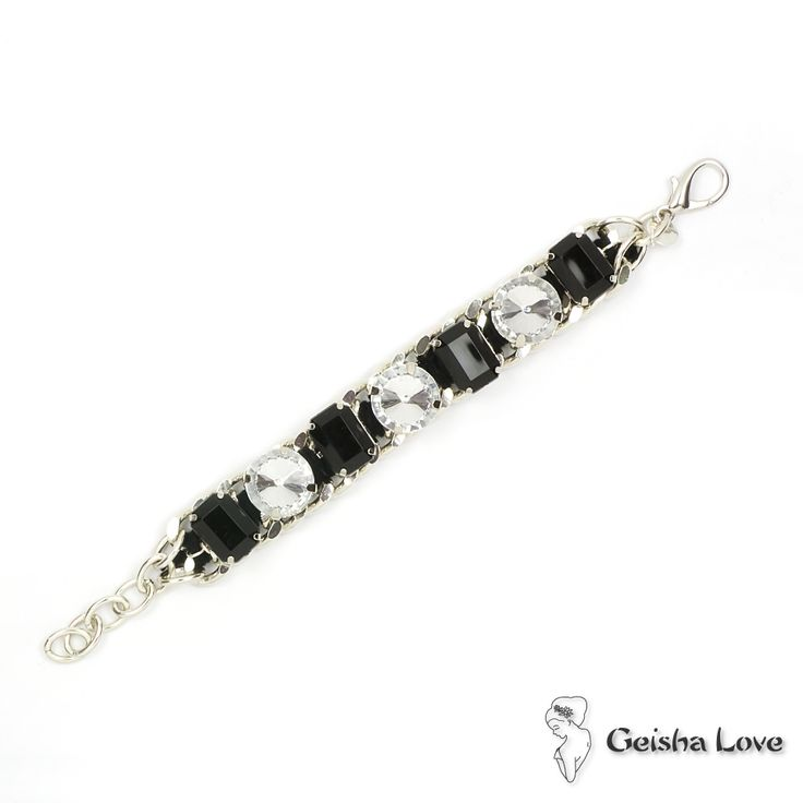 GATSBY collection bracelet with resin stone silver color chain, black cotton spun