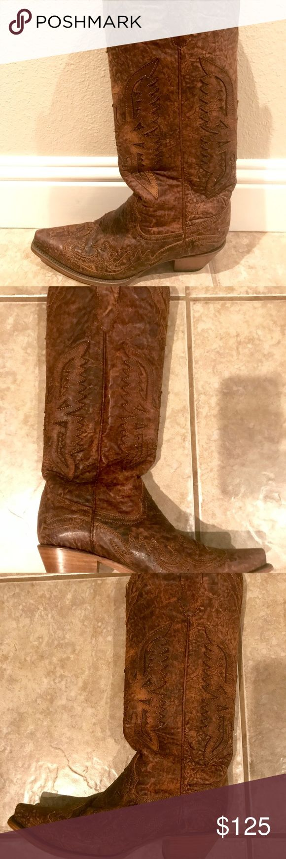 Corral Vintage Boots Corral vintage cowboy boots- tall with sniptoe. Worn less than 5 times. Dark brown, vintage 'worn' leather look. Corral Shoes