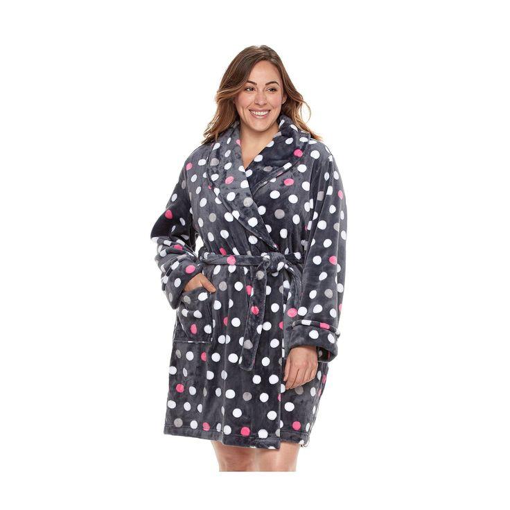 Plus Size SONOMA Goods for Life™ Plush Short Robe, Women's, Size: 2XL, Dark Grey