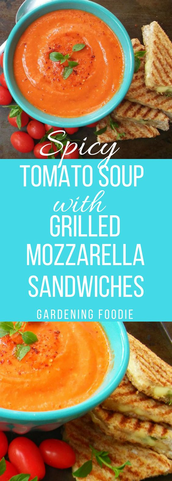 Spiced Tomato Soup with Grilled smoked Mozzarella and Basil Sandwiches ⋆ Gardening Foodie