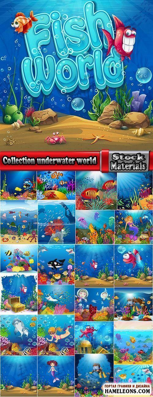 Подводный мир: рыбы, осьминого, кораллы, русалки - красочные векторные иллюстрации | Collection underwater world illustration for the children's book literature fairy tale