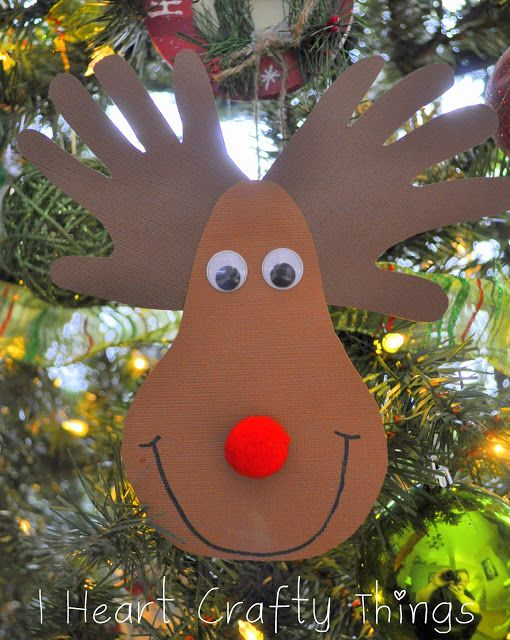 I HEART CRAFTY THINGS: Handprint Reindeer Ornament