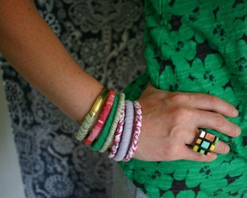 Bracelets made of used t-shirts.