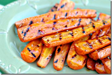 Grilled balsamic honey glazed carrots