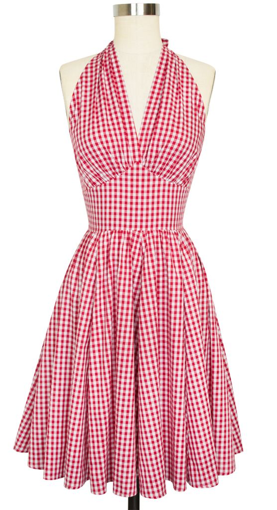 Dottie Dress in Red Gingham Don't usually go for halters, but I love this. the 14 is too big, but I'm keeping her anyway! (40/34/46)