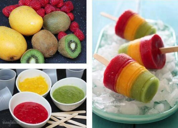 Mango, kiwi and raspberry popsicles | Health and wellness | Pinterest