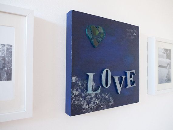 Blue collage painting on canvas 'LOVE' by Emma by freshdarling