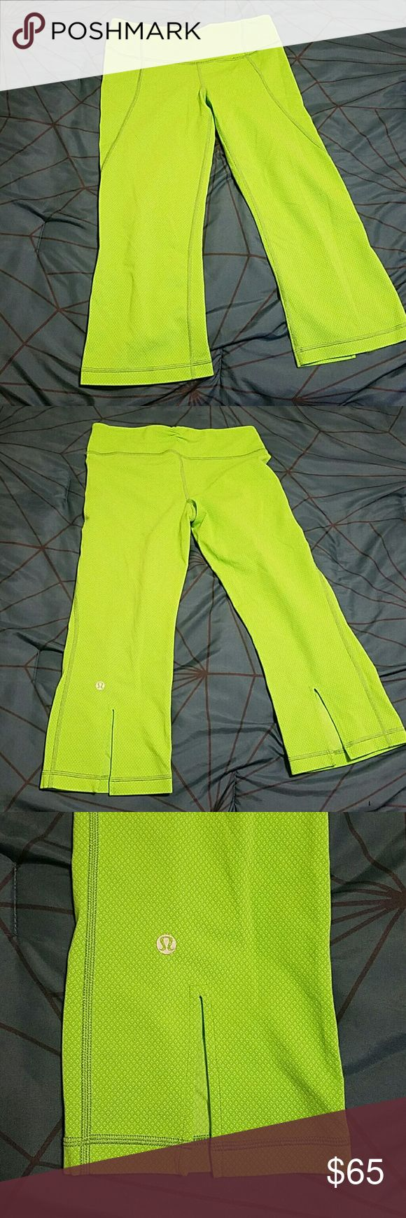 Lululemon capris Lululemon capris. Lime green with small white dot pattern. Slits in back for calves.  Size 6. Only wore once. Last picture for color. lululemon athletica Pants Capris
