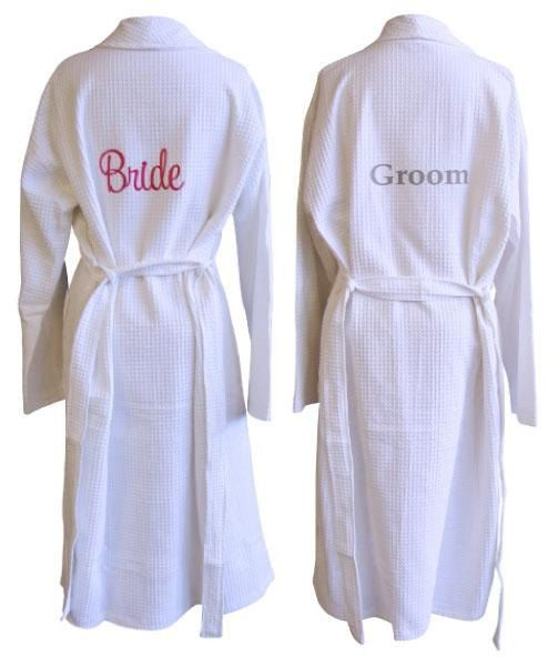 2 Personalized Embroidered Spa Robe Set