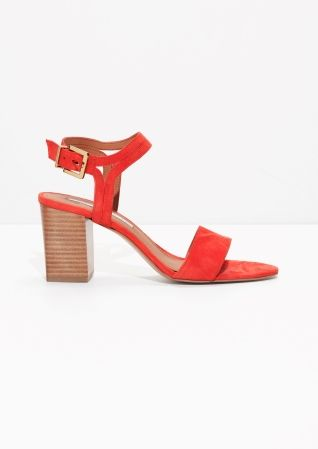 & Other Stories image 1 of Suede Ankle Strap Sandalettes in Tomato Orange