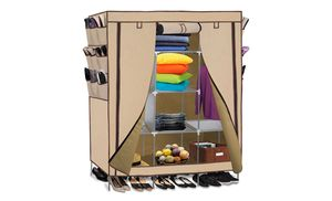 Set up this sturdy portable closet in a room that doesn't have enough built-in storage space to keep shoes, clothes, and bedding organized