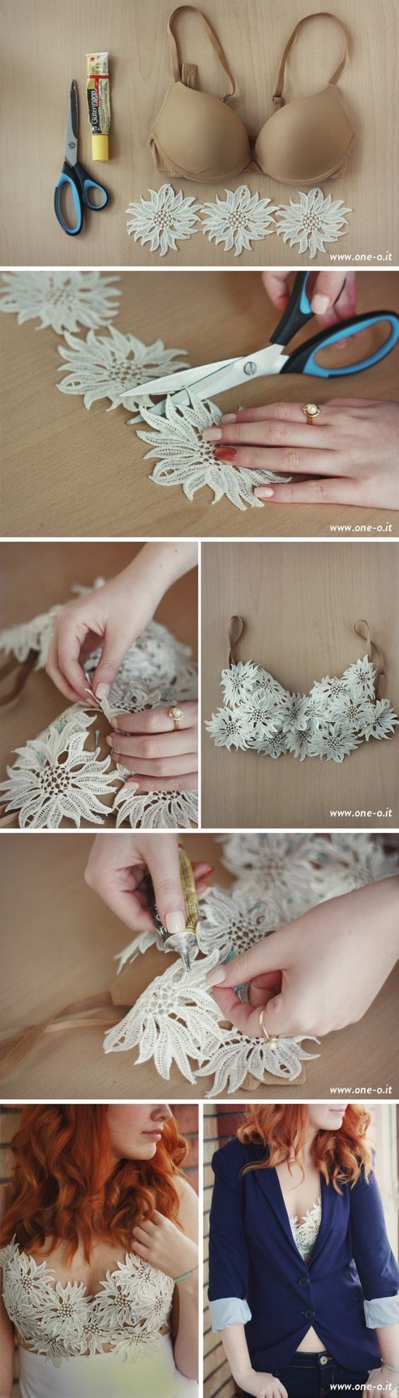 I would probably just add the lace flower pieces to a cami instead of the bra. . .