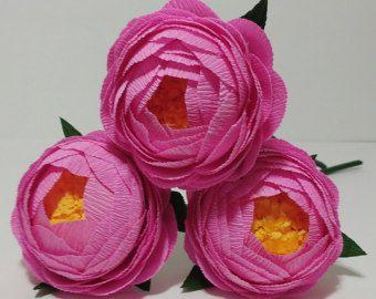 3 rosa di carta crespa fiori carta crespa peonia Flore de papel carta crespa peonia Home nozze centrotavola Bridal Bouquet regalo pezzo di arredamento