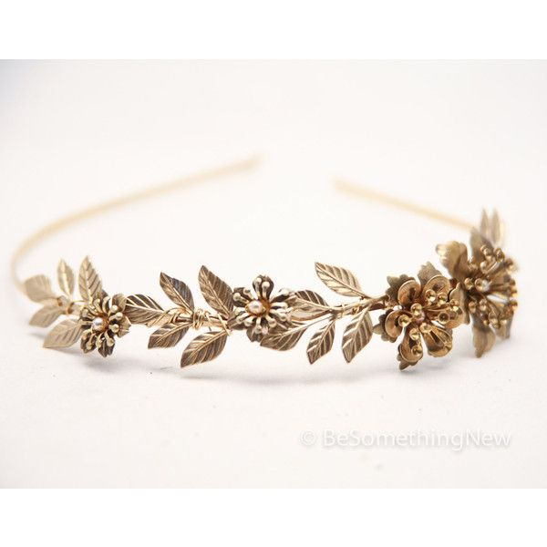 Grecian Brassy Gold Metal Leaf and Flower Headband Gold Wedding... (£39) ❤ liked on Polyvore featuring accessories, hair accessories, headbands & turbans, silver, gold braided headband, flower tiara, turban headband, metal leaf headband and head wrap headband