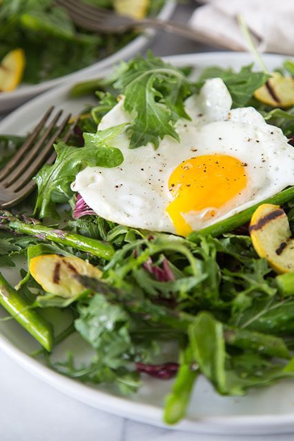 Grilled asparagus salad topped with fried egg or try grilled chicken