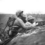 During the invasion on Iwo Jima, in February 1945, advancing U.S. troops spot a…